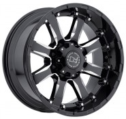 Фото диска BLACK RHINO SIERRA 9x18 8/165.1 ET-12 DIA 120 Gloss Black Mirror Machine Cut