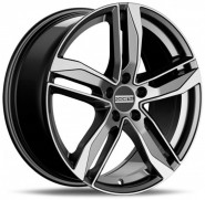Фото диска Fondmetall Hexis 8x18 5/112 ET40 DIA 66.6 Black Glossy Machined