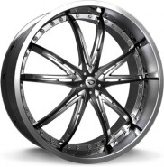 Фото диска Gianna CROWN 8.5x20 5/130 ET35 DIA 84.1 Gloss Black/Chrome Inserts
