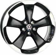 Фото диска VOLKSWAGEN W465 LACENO 7.5x19 5/112 ET51 DIA 57.1 GLOSSY BLACK POLISHED